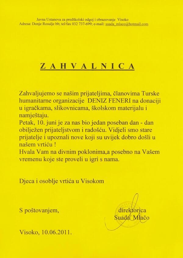 Bosna Hersek´ten Deniz Feneri´ne Teşekkürname