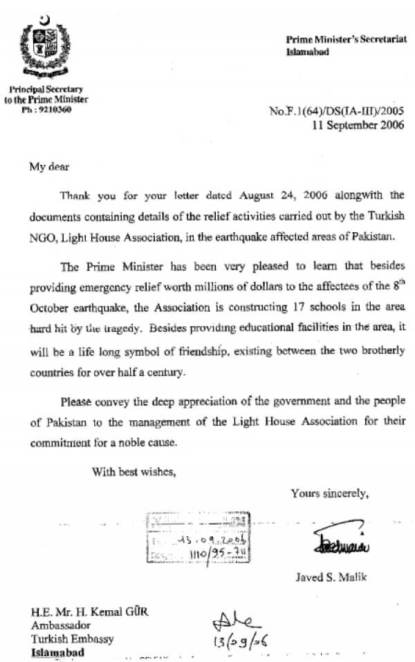 Pakistan Başbakanı Şevket Aziz'den Teşekkür