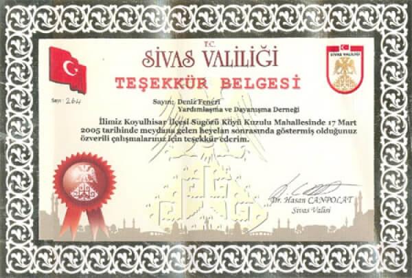 Sivas Valisi Dr. Hasan Canpolat´tan Teşekkür